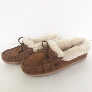 J. Crew Suede Shearling Slippers with Learher Ties